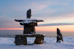 Inukshuk, Inuit stone landmark, Churchill, Hudson Bay, Manitoba, Canada, North America